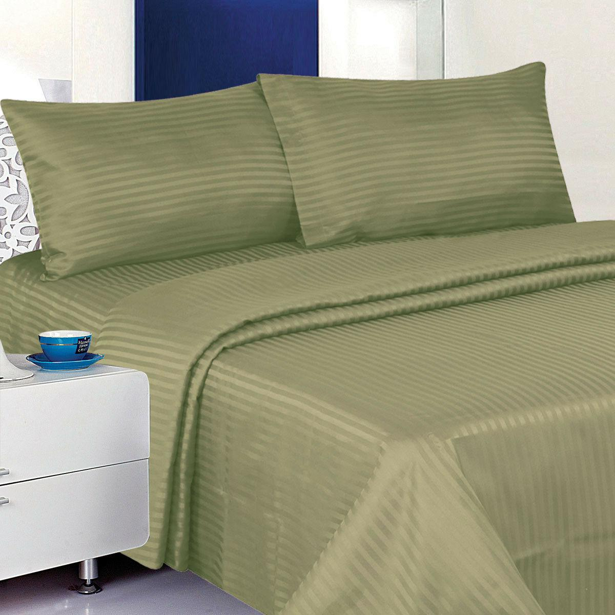 1800 Deluxe Dobby Stripe Cotton Deep Pocket Bed Sheet Set