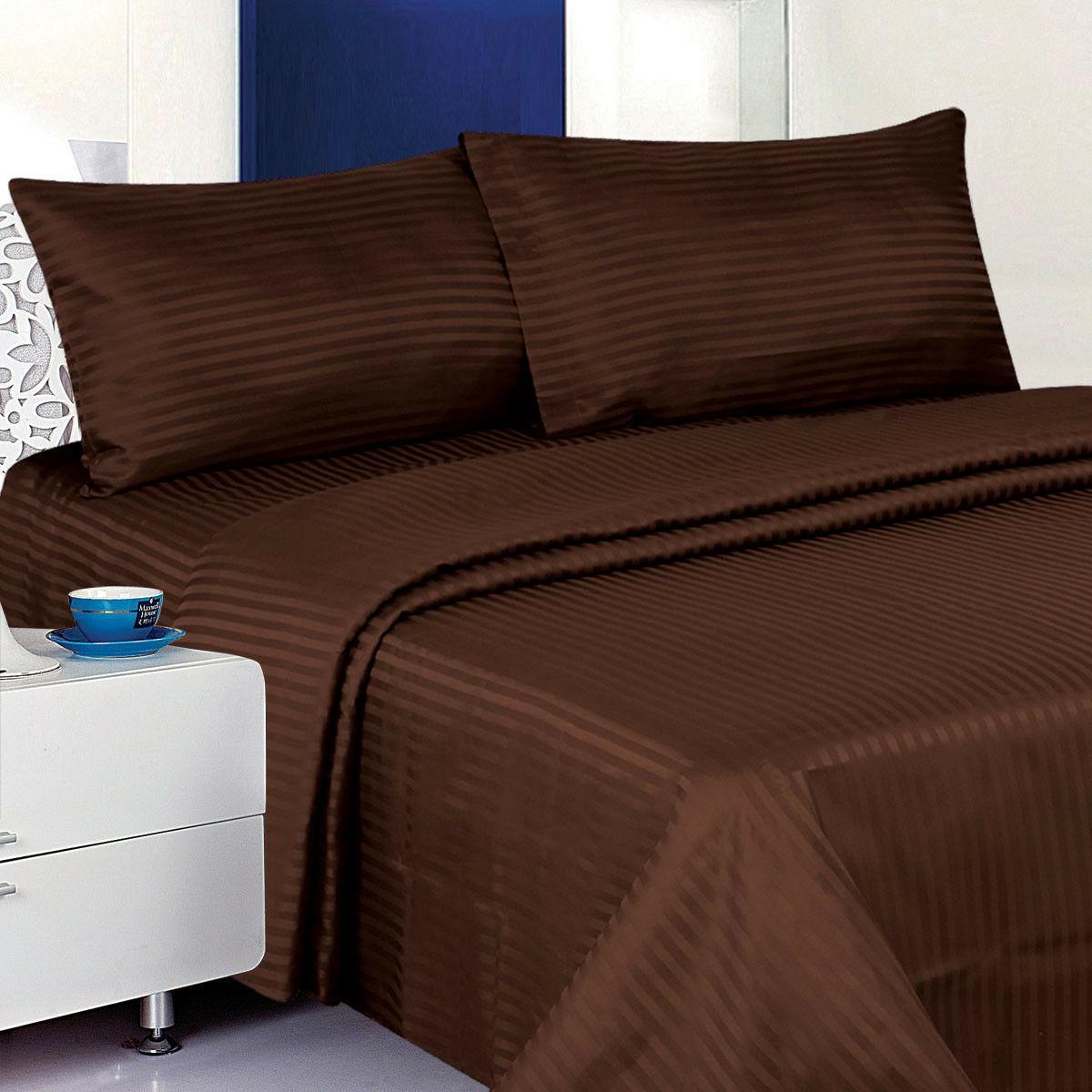 1800 Deluxe 4-Piece Dobby Stripe Cotton Deep Pocket Bed Set
