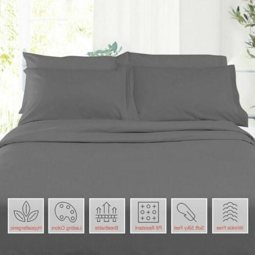Egyptian King Soft Microfiber Bed Sheets Pocket Sheet