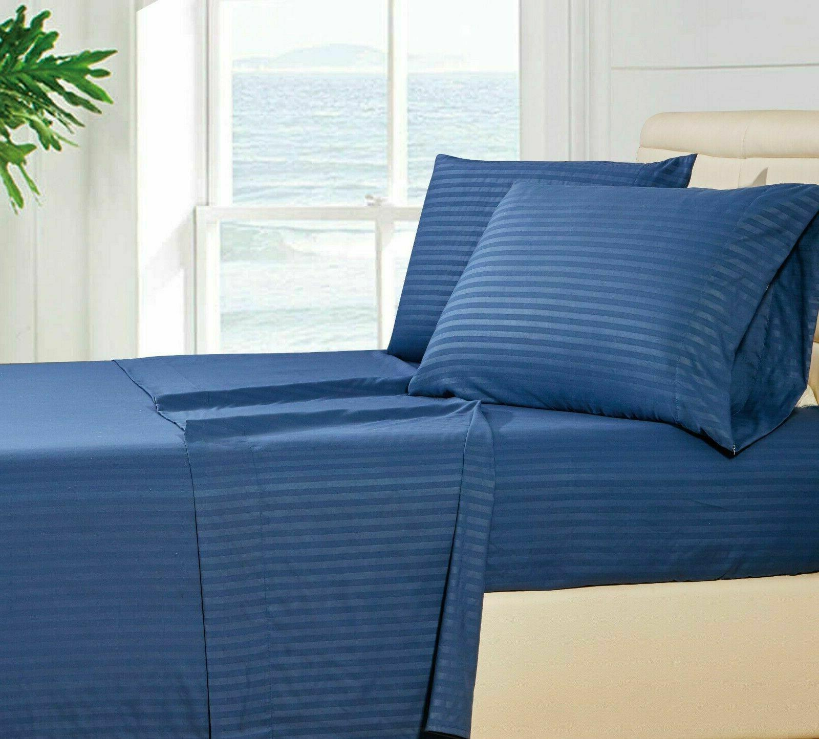 1800 Count Deep Pocket 4 Piece Stripe Bed Sheet Egyptian Com