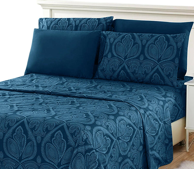 Deep Pocket 6 Piece Bed Sheet Set 1800 Count Egyptian Comfor