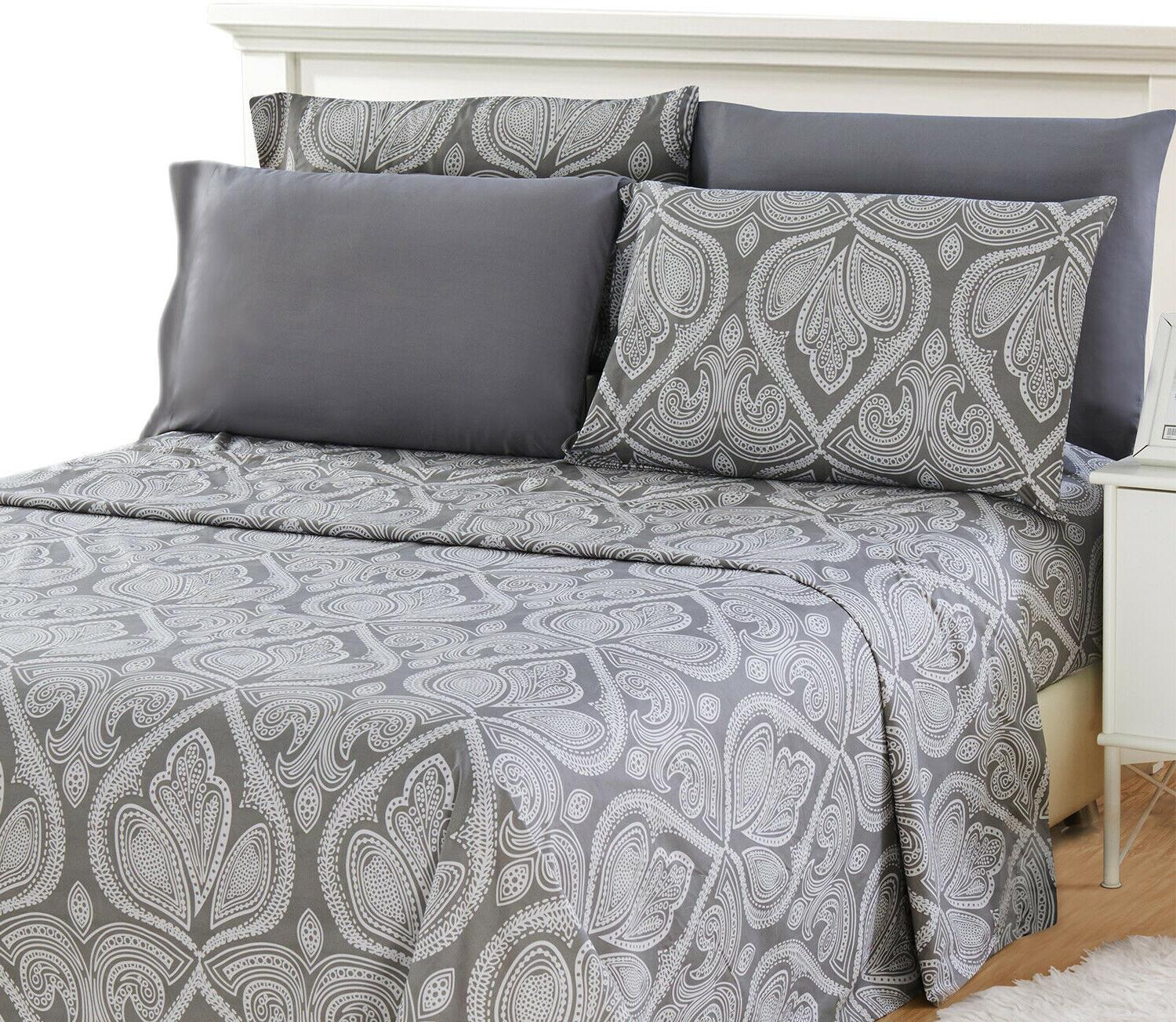 1800 series egyptian paisley printed striped bed