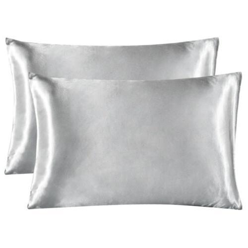 2Pcs Standard Satin Silk Pillowcase Case Home Bedding