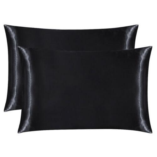 2Pcs Standard King Satin Pillow Case