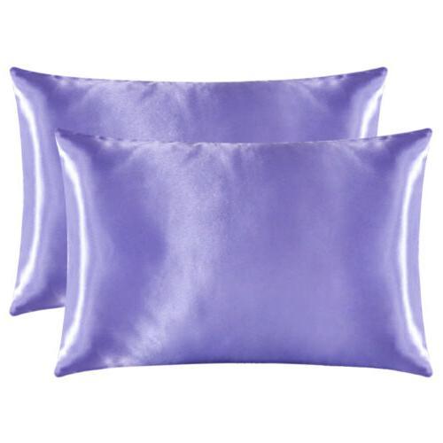 2Pcs Standard Satin Pillowcase Pillow