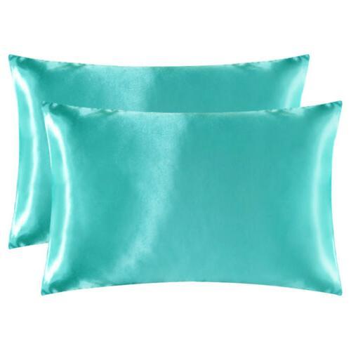 2Pcs Satin Silk Pillowcase Case Bedding