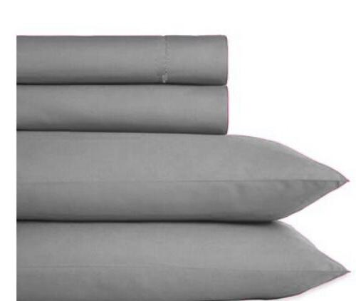 3 Piece Luxury Gray King Sheet Set Fitted Pillows New 1300TC