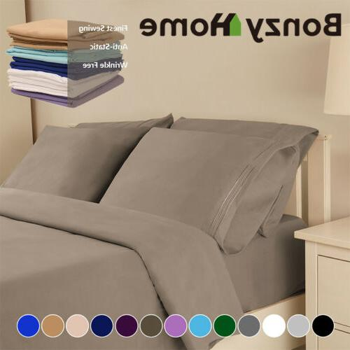 4/6Piece bed Deep Pocket Sheets King Full Size fitted