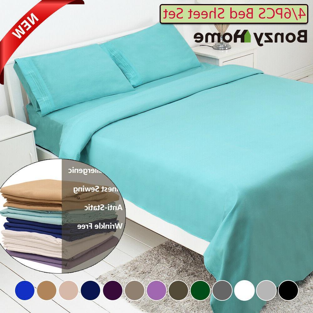 4 6piece bed sheet set deep pocket