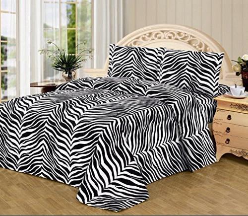 4 Piece Zebra Animal Print Super Soft Executive Collection 1