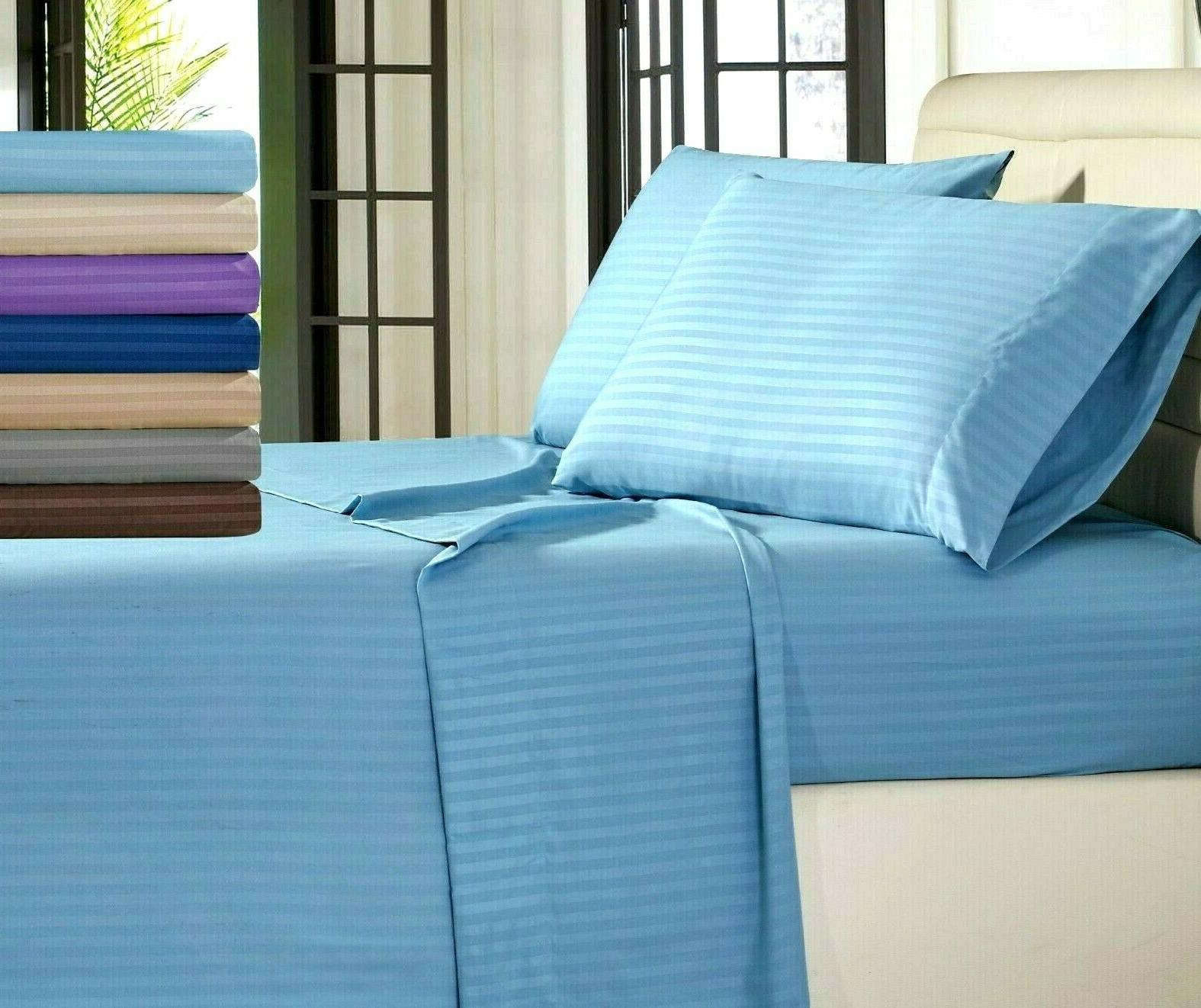 4 pcs deep pocket striped bed sheet