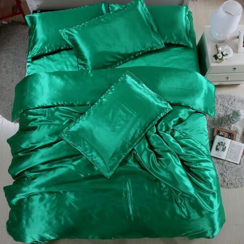 4 Silk Bedding Sets Sheets Duvet Cover King