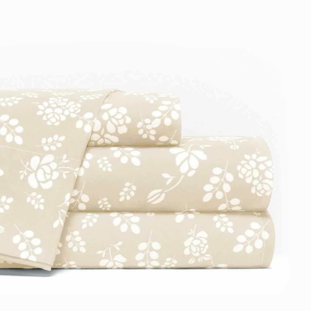 Floral 4 Set 1800 Series Egyptian Comfort Pocket Bed Sheet Set