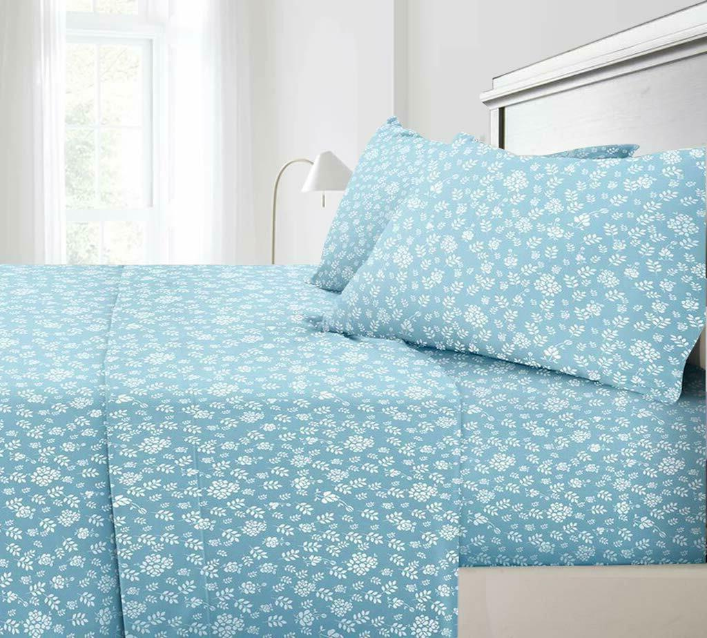 King Size Sheet Set Bedding 4 Piece 100/% Cotton Deep Pocket T500 Blue Floral