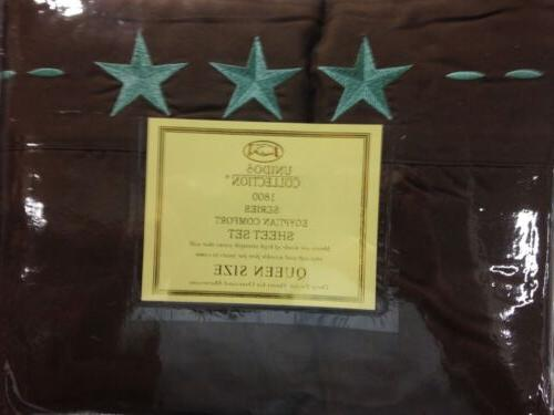 4 piece bed sheets texas embroidery brown