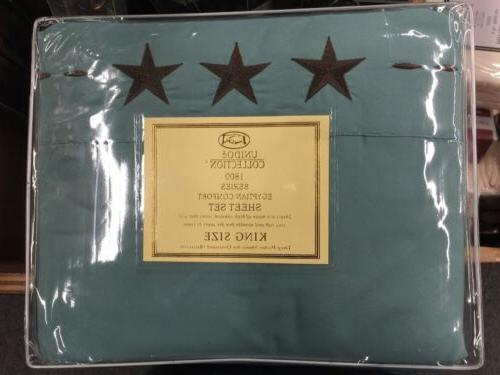 4 piece bed sheets texas star embroidery