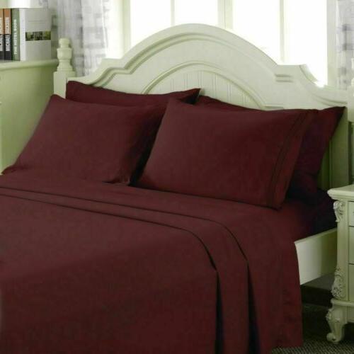4 Pocket Bed Comfort 1800 Count Bed Sheets Set Queen