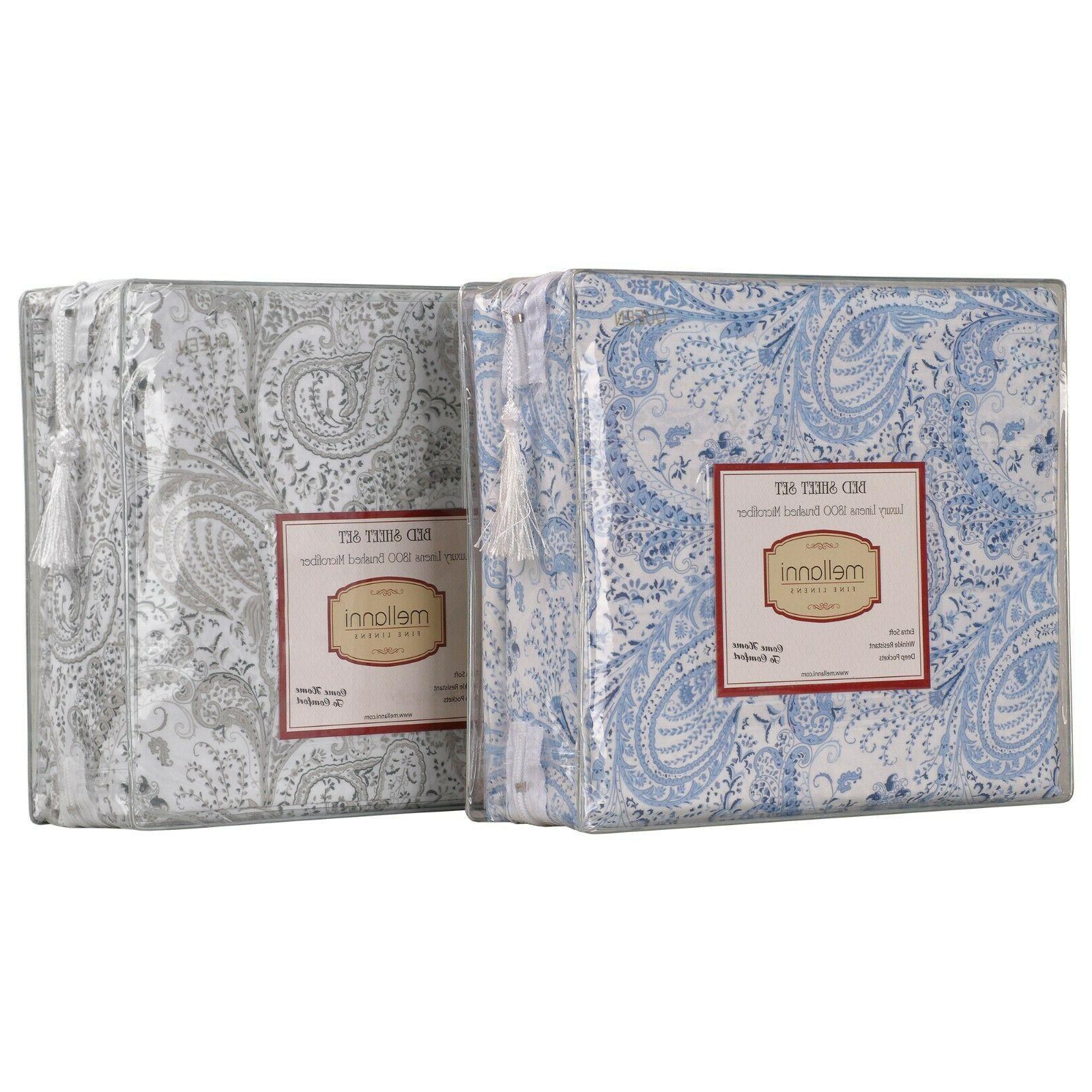 Mellanni Bed Sheet Set Paisley, Deep Pockets 1800 Collection Microfiber
