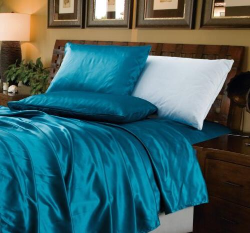 4 piece solid teal bridal satin sheet