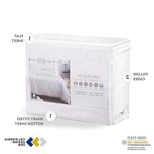 California Thread 100% Sheet Set, King Sheets Set, Natural Best Cotton Bedsheets, Soft Weave