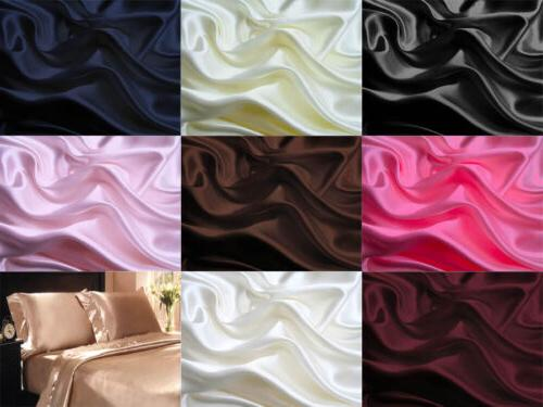 4Pc 400TC Satin Bed Sheet Pillowcase Set Deep Pocketed Linge