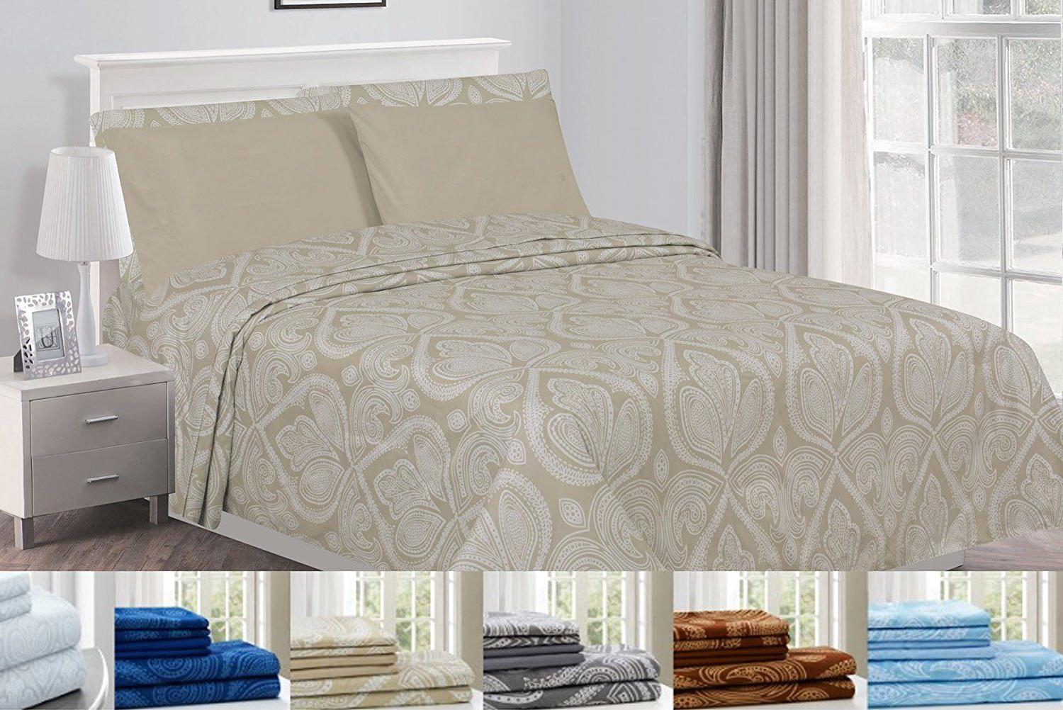6 Piece: Egyptian Paisley Sheet Set Comfort Multi Colors