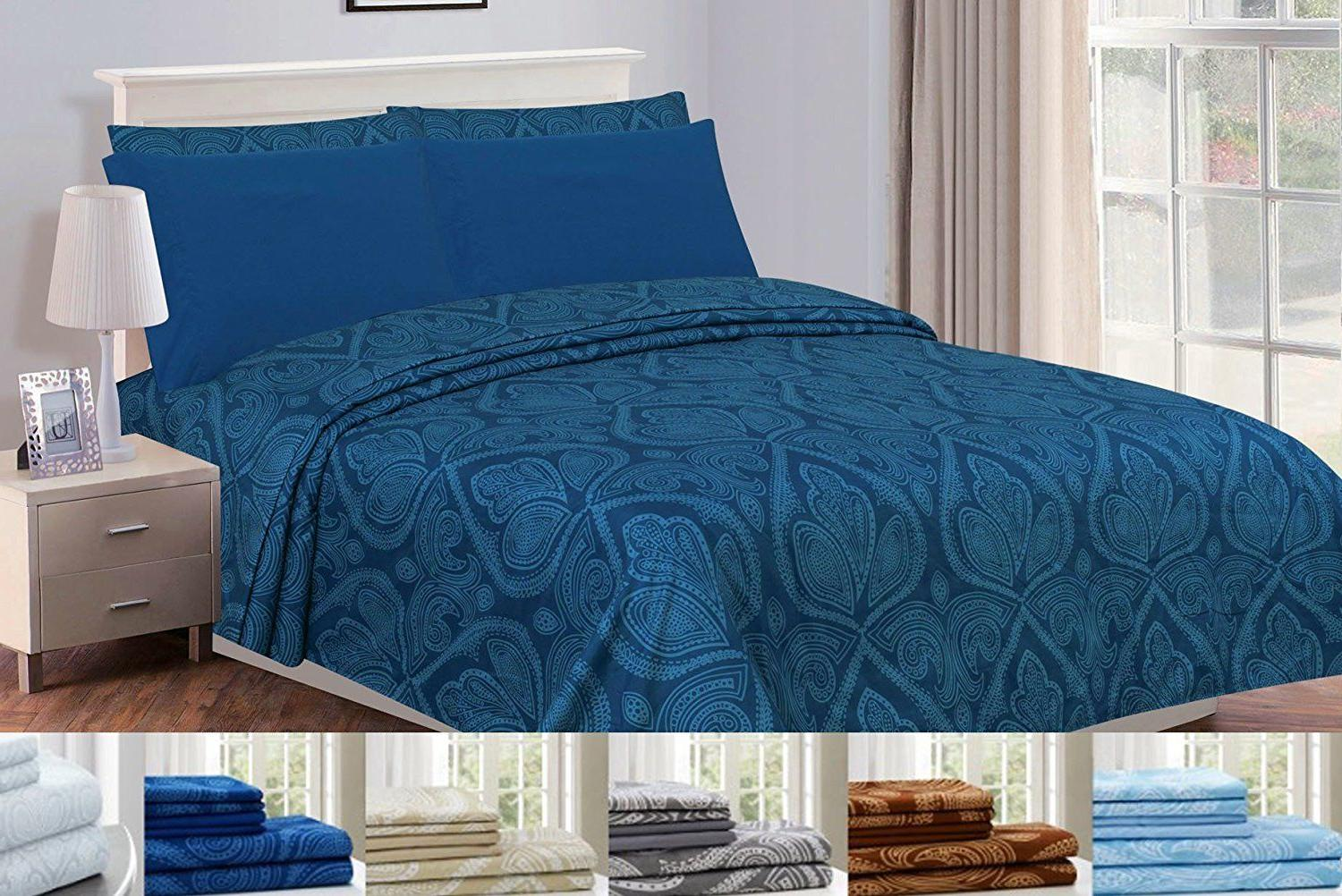 6 Piece: Series Egyptian Paisley Bed Sheet Multi Colors