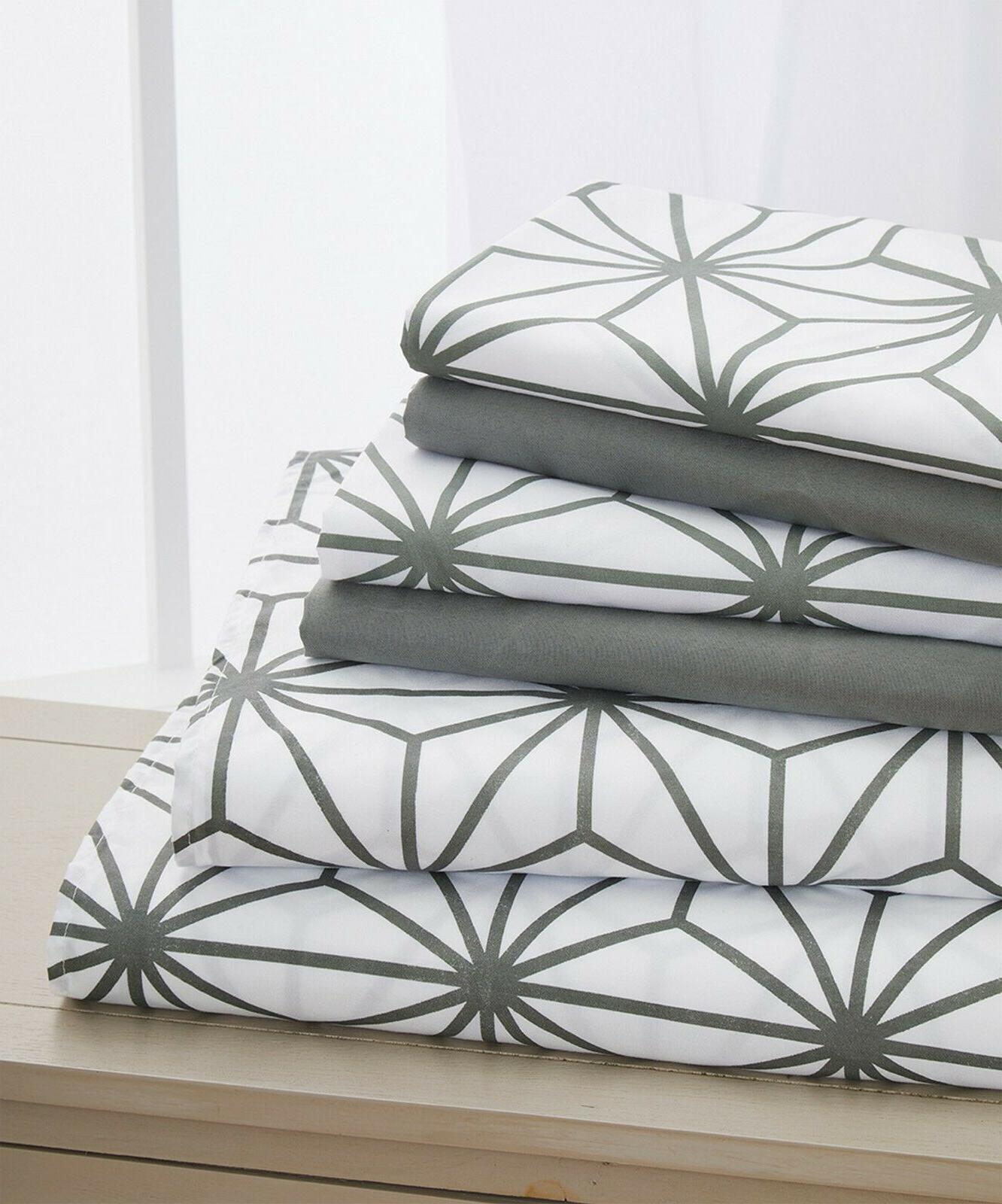 6 piece cube pattern bed sheet set