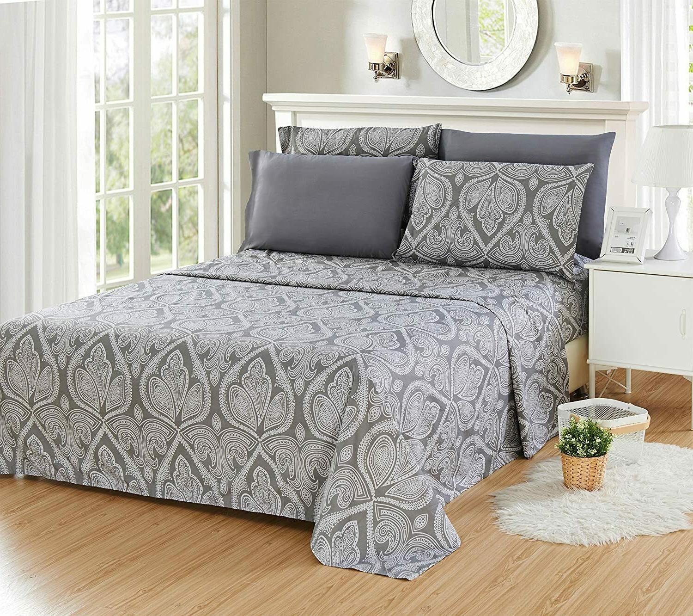 6 piece paisley printed deep pocket bed