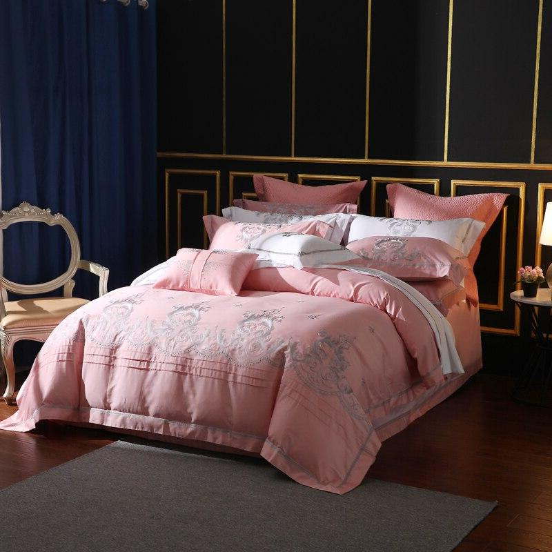 650 Thread Count Pink Embroidery Piece Bedding Sets Staple Pima Bed <font><b>Sheets</b></font> <font><b>King</b></font>