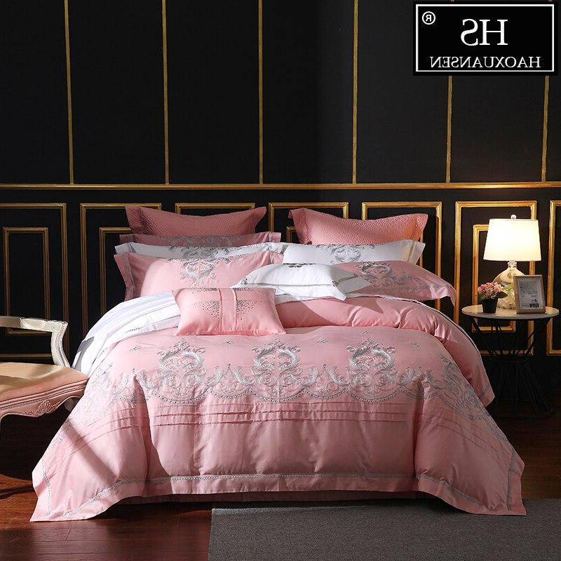 650 thread count pink embroidery 4 piece