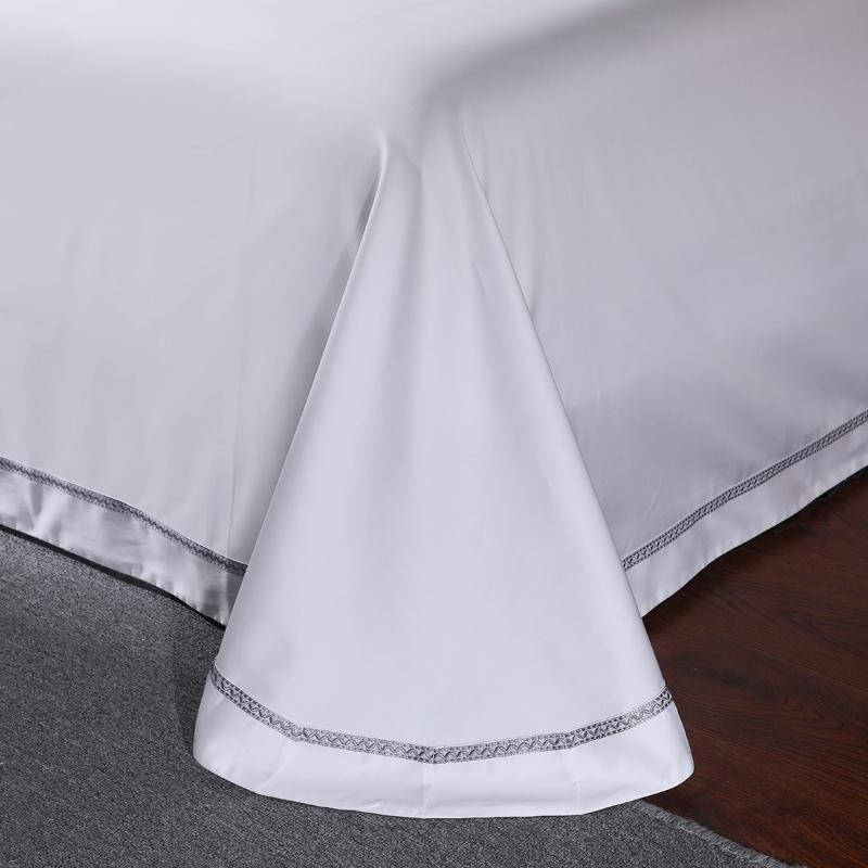 650 White Embroidery 4 Piece Sets 100% <font><b>Extra</b></font> Staple Pima Euro Bed
