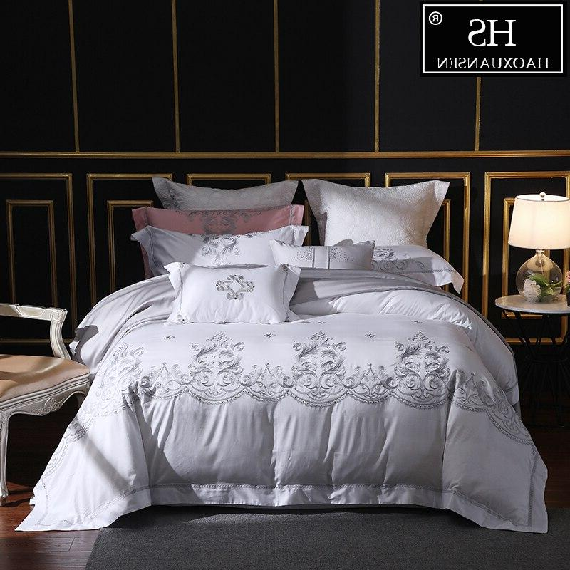 650 thread count white embroidery 4 piece