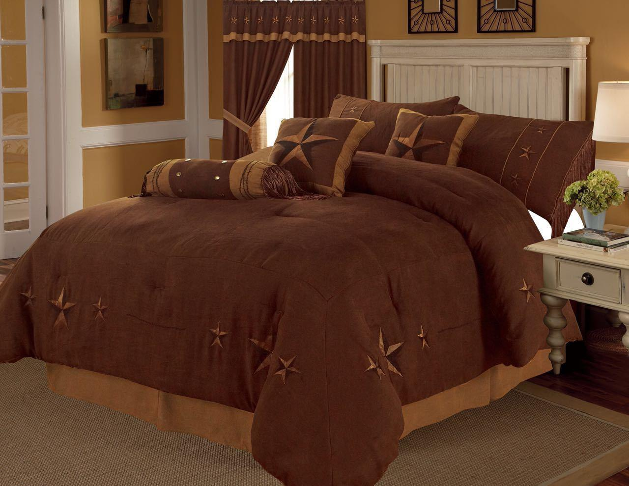 7 pc Western Comforter Set MICRO-SUEDE King/Queen Texas Lone