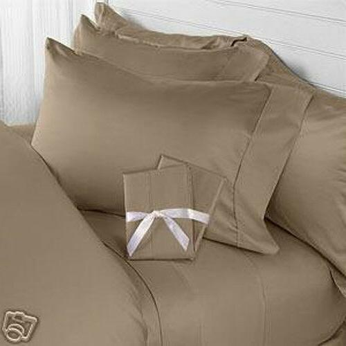 Taupe Solid Bed Sheet Set All Extra Deep Pkt & Sizes 1000 TC