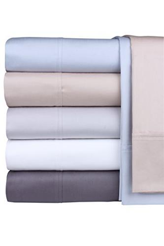 800 100% Extra-Long Staple Set, Sheets, Luxury Bedding, Set , Smooth Sateen Weave,Dark Grey, by Threadmill