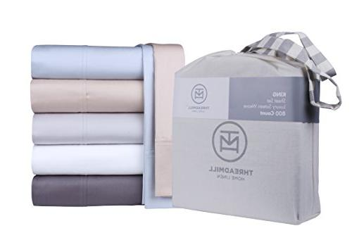 800 Thread Extra-Long Cotton Set, Bedding, Set Silky Sateen Threadmill Home