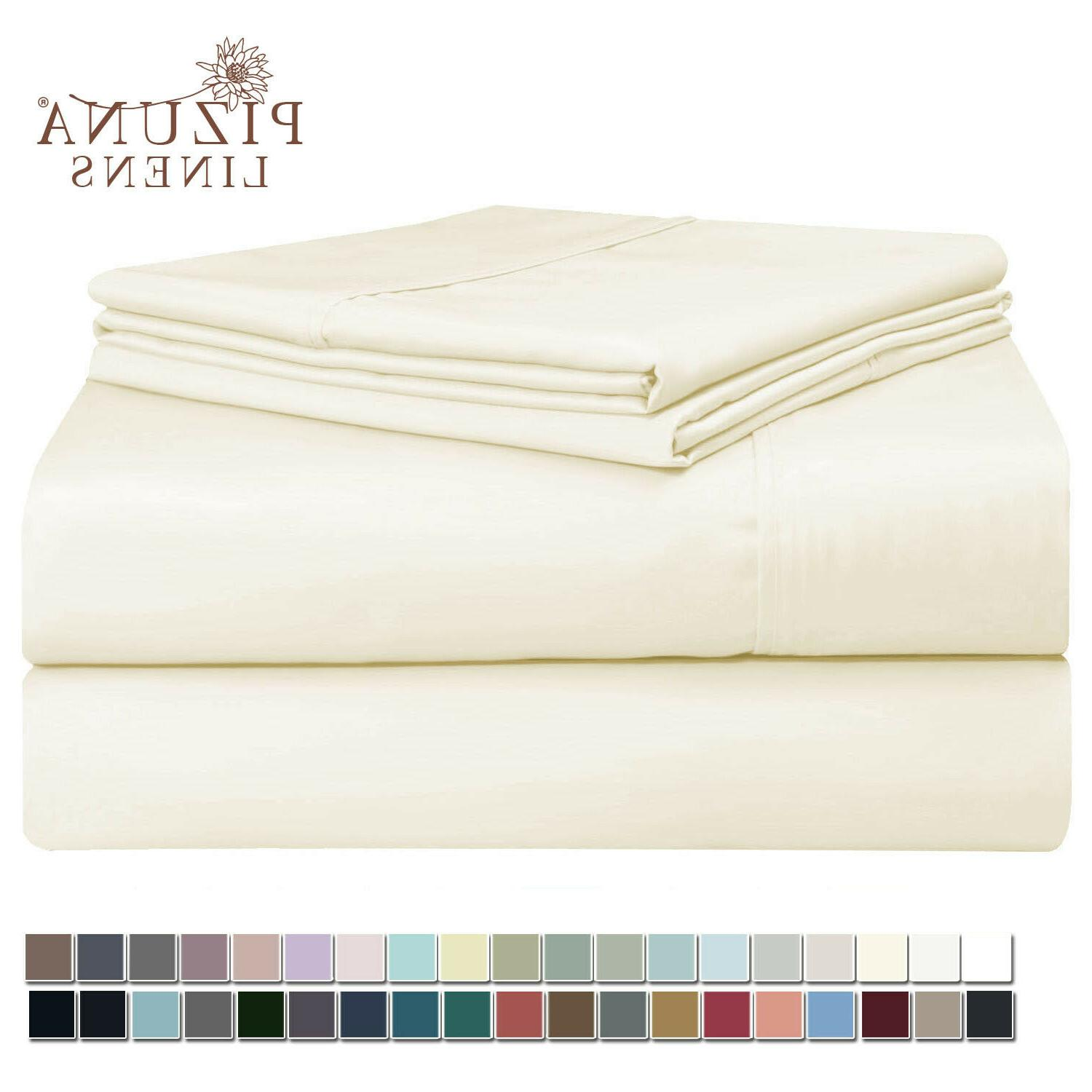 Pizuna 400 Thread Count Cotton Sheets Set King White, 100% L