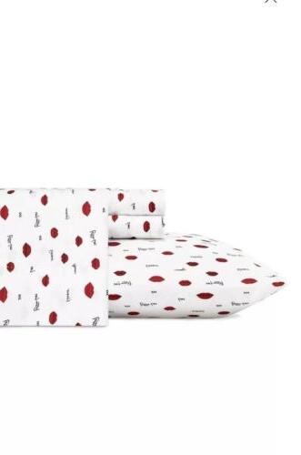 💋Betsey Johnson King Sheets Hot Pink Red Lips Print Sheet
