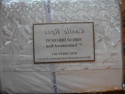 Castle Rose 7 Inch  Embroidered Hem Cotton King Sheet Set Iv