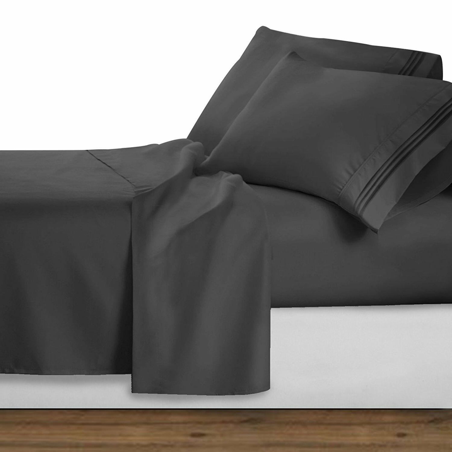 Clara Clark Collection Bed Sheet Set Charcoal