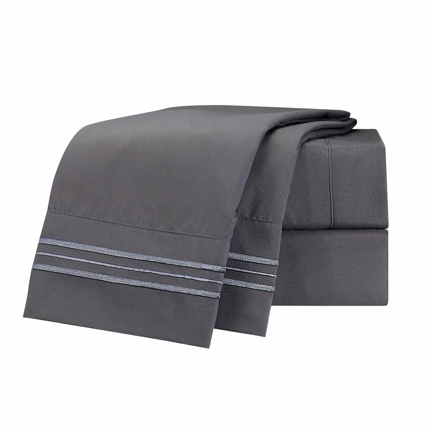 Clara Clark Collection 4pc Set - King Size, Charcoal