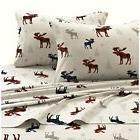 Girls Plaid Moose Off White Red Blue Sheet Cal King Californ