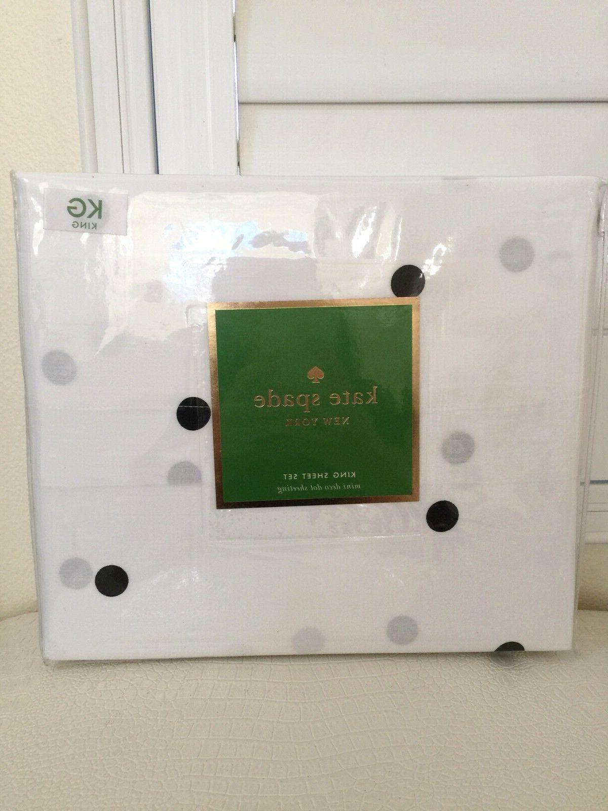 KATE SPADE KING Sheet Set Flat Fitted Pillowcases Mini Deco