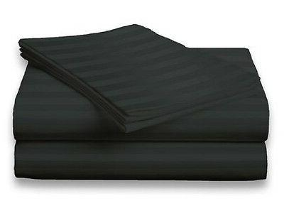 King Size Black 400 Thread Count 100% Cotton Sateen Dobby St