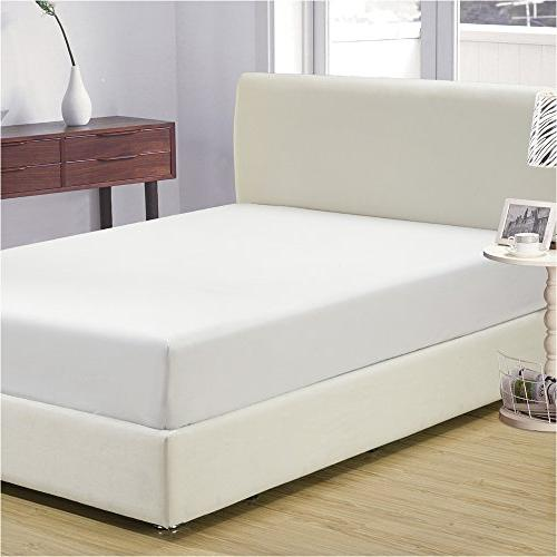 Mellanni Fitted Sheet White Brushed 1800 Bedding - Fade, Stain Resistant -