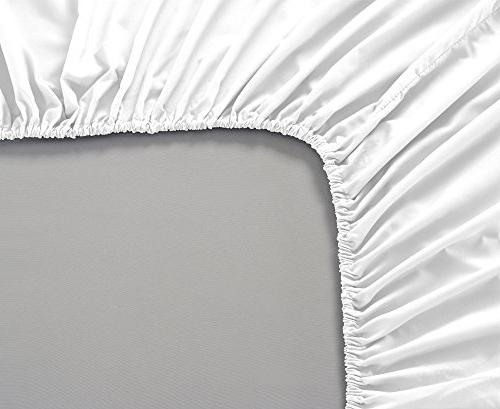 Mellanni Fitted Sheet White Microfiber 1800 Bedding Fade, Stain Resistant Hypoallergenic -