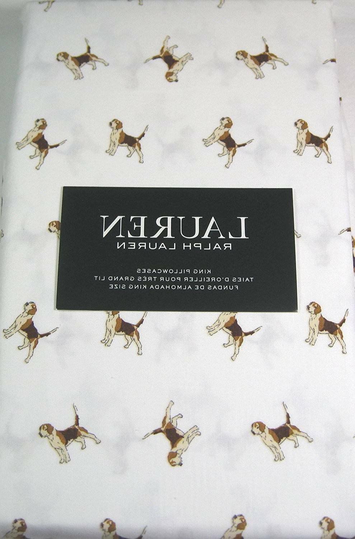 Ralph Lauren King Size Pillowcases 100% Cotton Beagle Dogs