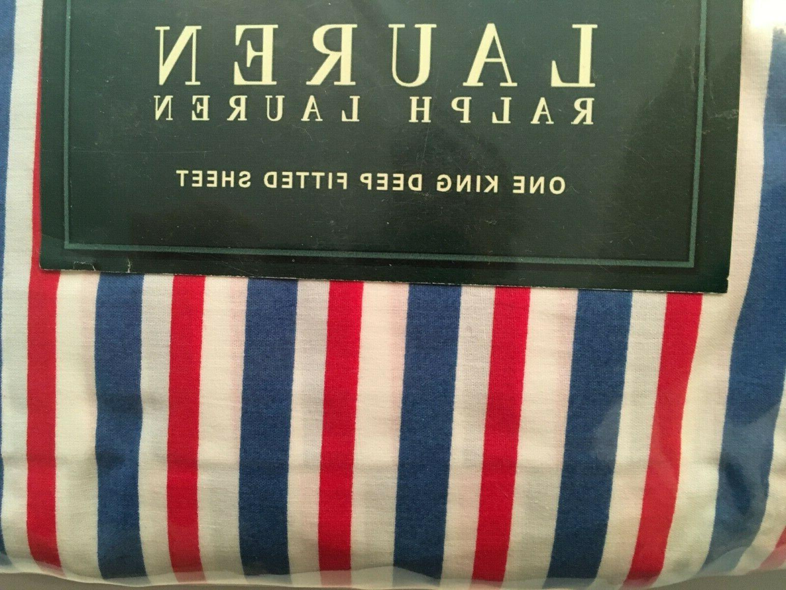 Ralph Lauren STRIPES * KING FITTED SHEET red/white/blue NEW