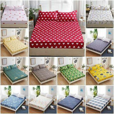 Floral Printed Single Double King Size Fitted Sheet  Deep Po
